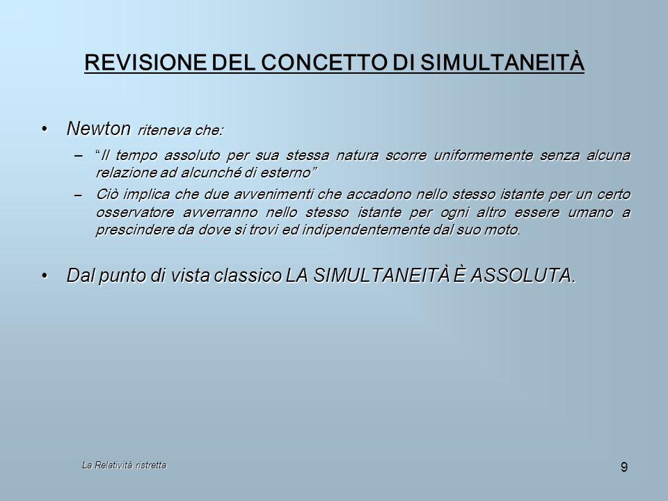 REVISIONE DEL CONCETTO DI SIMULTANEITÀ