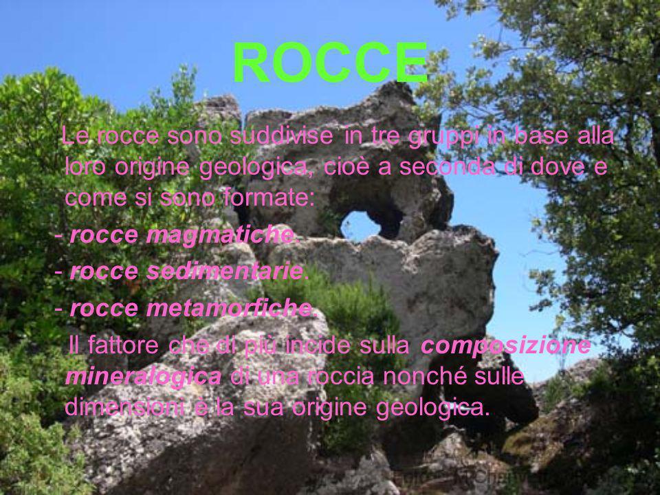 ROCCE Le rocce sono suddivise in tre gruppi in base alla loro origine geologica, cioè a seconda di dove e come si sono formate: