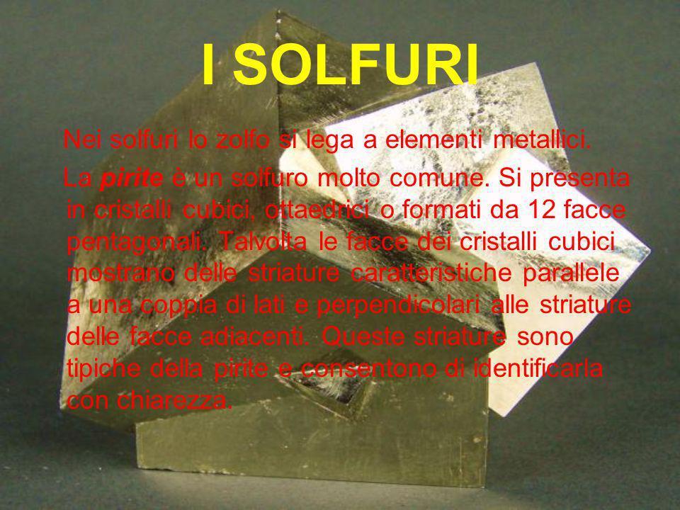 I SOLFURI Nei solfuri lo zolfo si lega a elementi metallici.