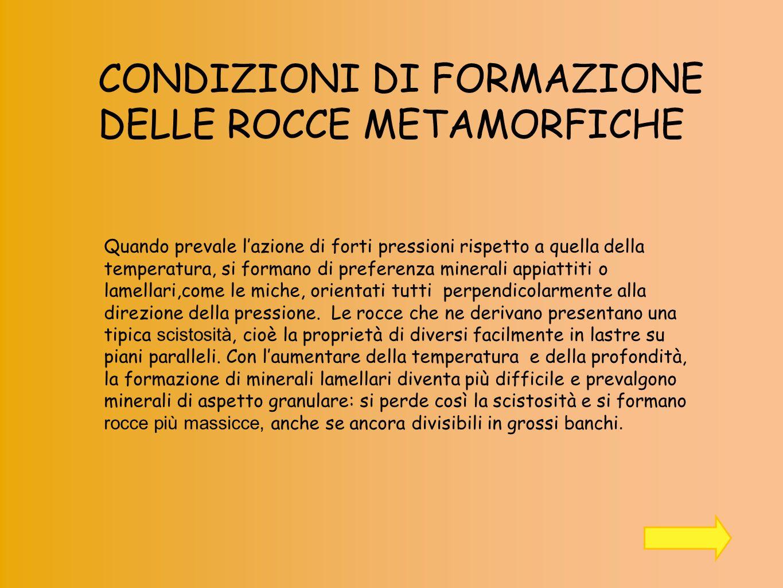 CONDIZIONI DI FORMAZIONE DELLE ROCCE METAMORFICHE