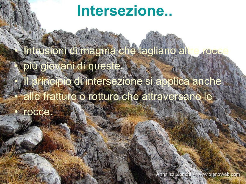 Intersezione.. Intrusioni di magma che tagliano altre rocce