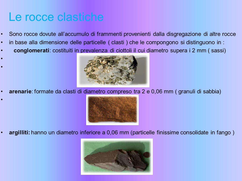 Le rocce clastiche Sono rocce dovute all'accumulo di frammenti provenienti dalla disgregazione di altre rocce.