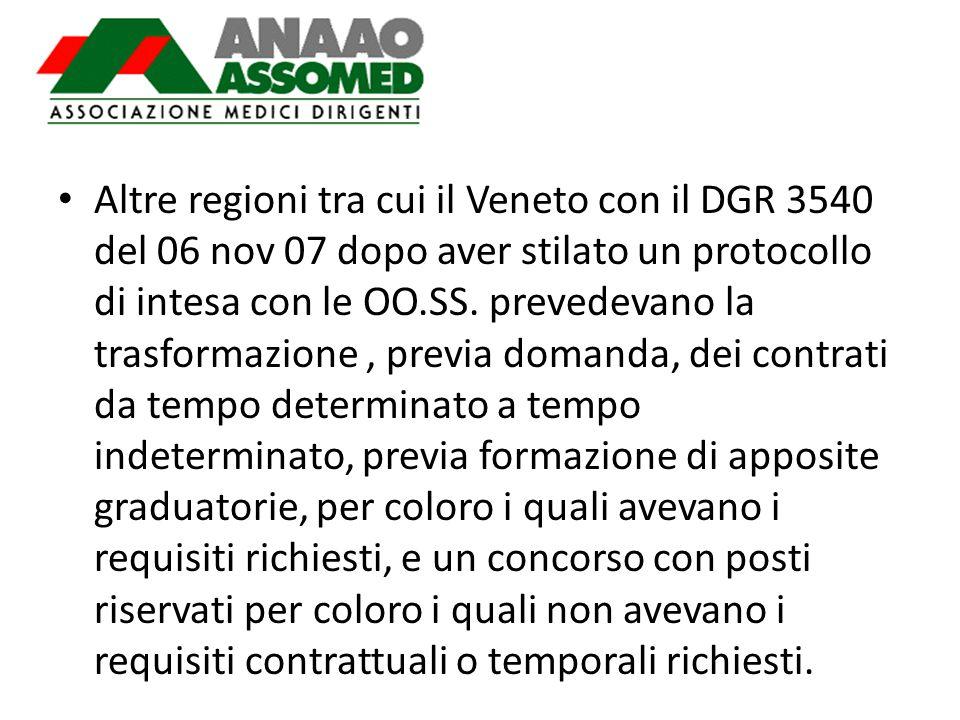 Altre regioni tra cui il Veneto con il DGR 3540 del 06 nov 07 dopo aver stilato un protocollo di intesa con le OO.SS.