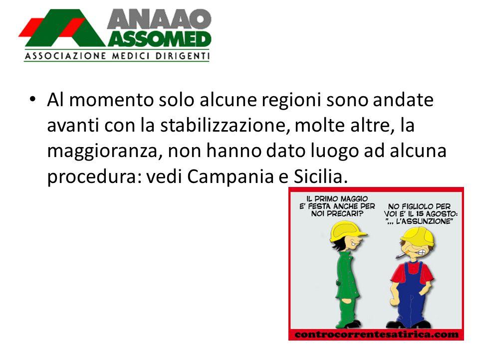 Al momento solo alcune regioni sono andate avanti con la stabilizzazione, molte altre, la maggioranza, non hanno dato luogo ad alcuna procedura: vedi Campania e Sicilia.