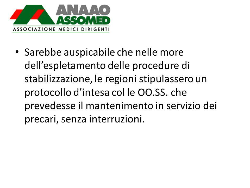 Sarebbe auspicabile che nelle more dell'espletamento delle procedure di stabilizzazione, le regioni stipulassero un protocollo d'intesa col le OO.SS.