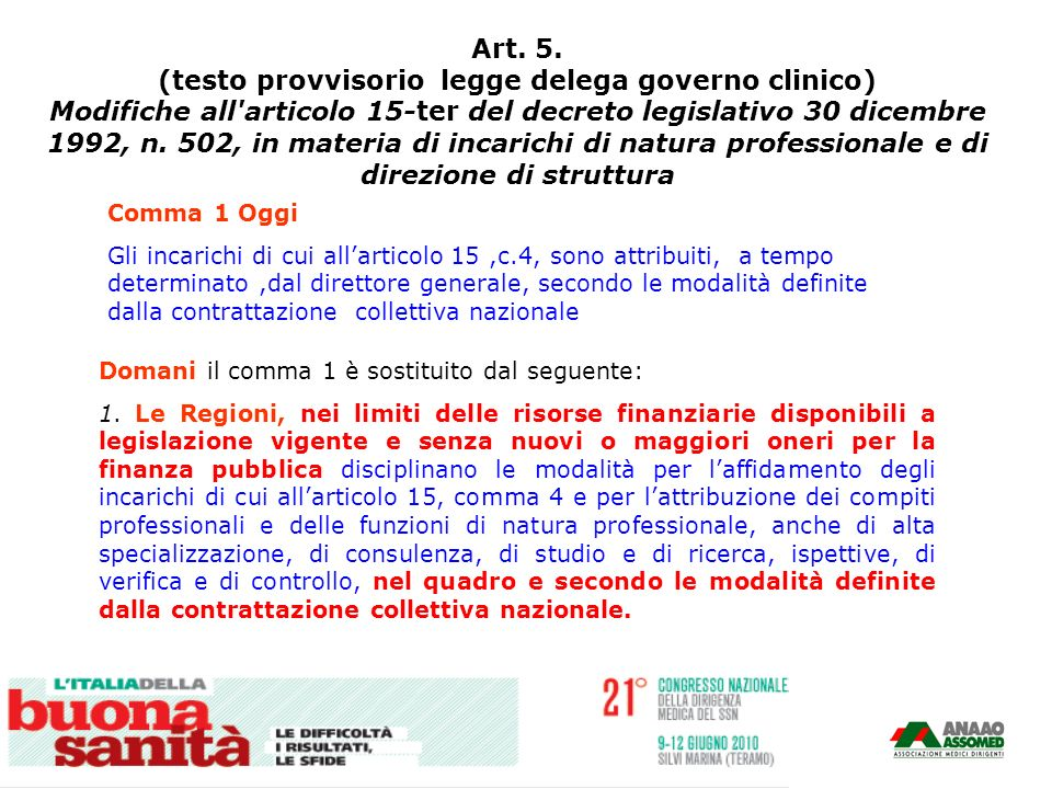 Art. 5. (testo provvisorio legge delega governo clinico)