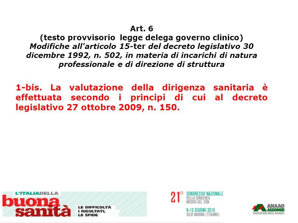 Art. 6 (testo provvisorio legge delega governo clinico)