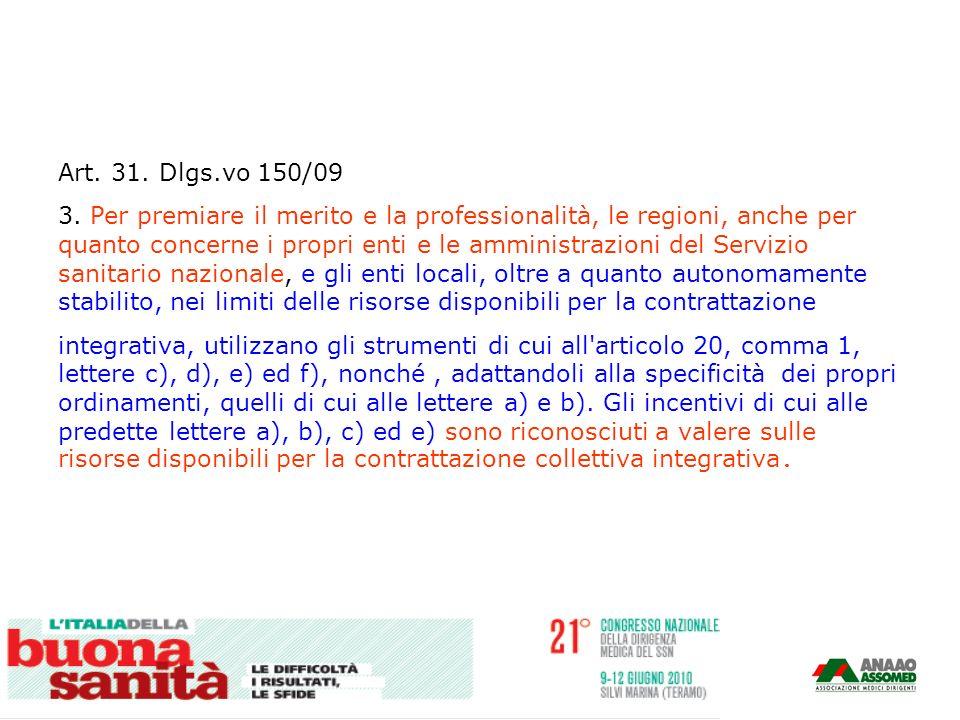 Art. 31. Dlgs.vo 150/09