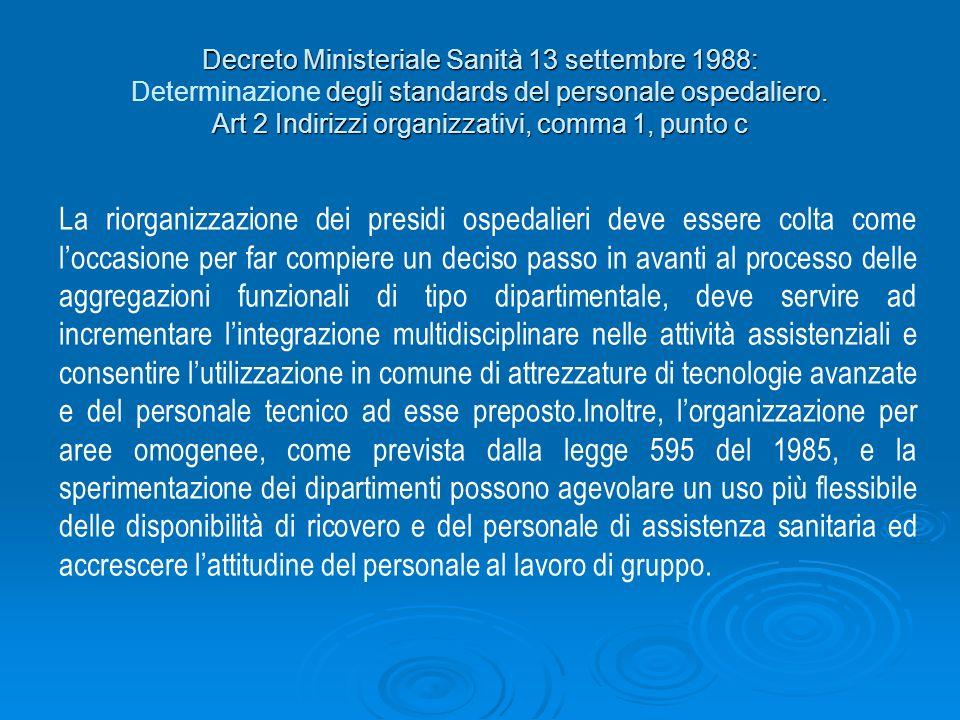 Decreto Ministeriale Sanità 13 settembre 1988: Determinazione degli standards del personale ospedaliero. Art 2 Indirizzi organizzativi, comma 1, punto c