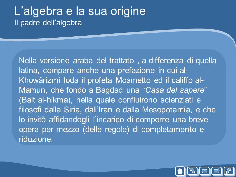 L'algebra e la sua origine Il padre dell'algebra