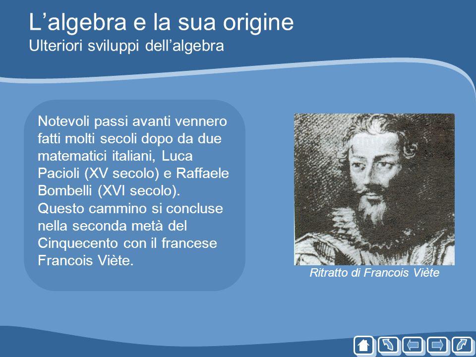 L'algebra e la sua origine Ulteriori sviluppi dell'algebra