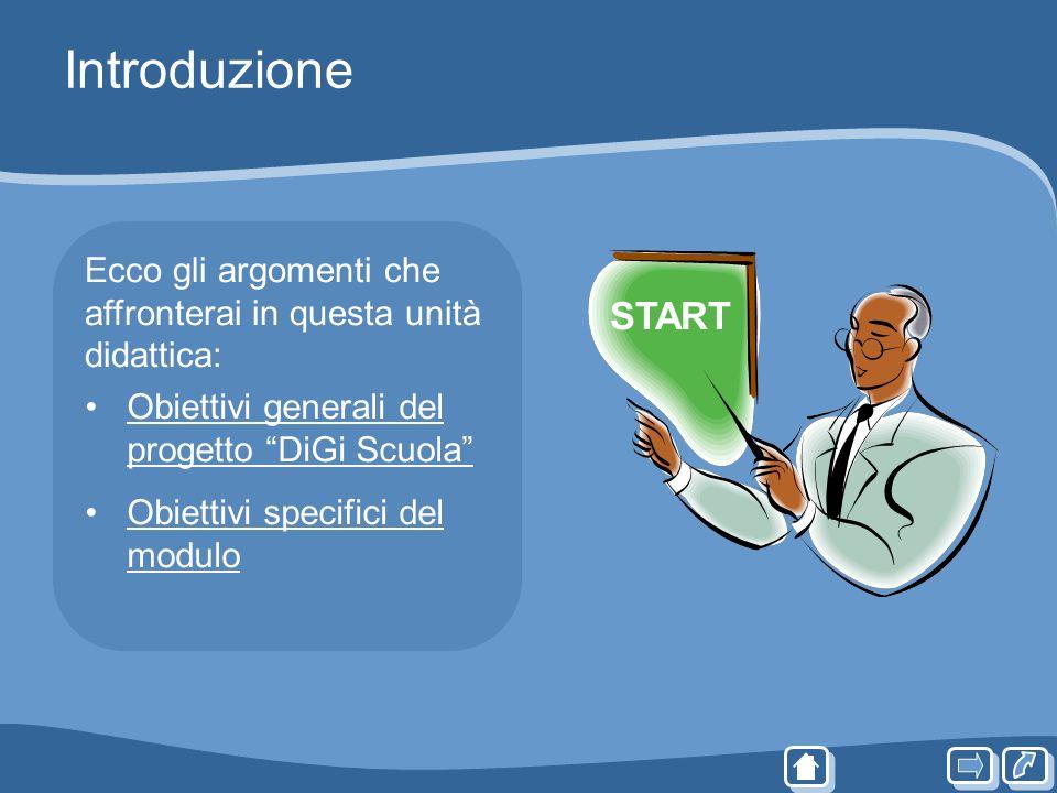 Introduzione Ecco gli argomenti che affronterai in questa unità didattica: START. Obiettivi generali del progetto DiGi Scuola
