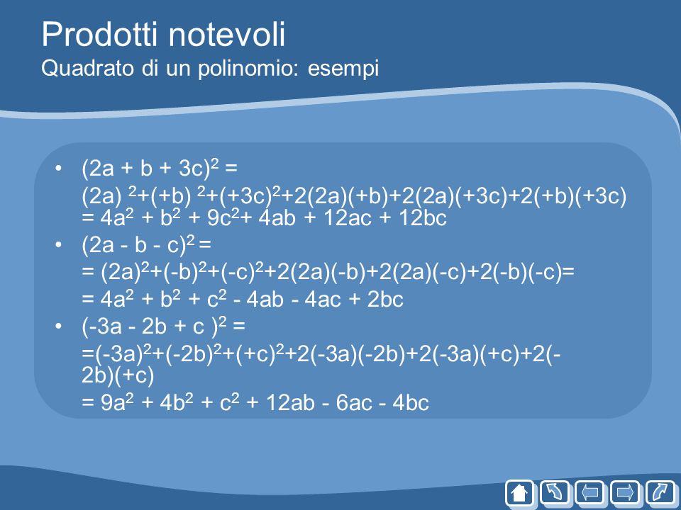 Prodotti notevoli Quadrato di un polinomio: esempi