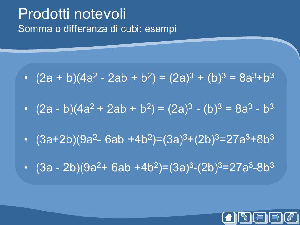 Prodotti notevoli Somma o differenza di cubi: esempi