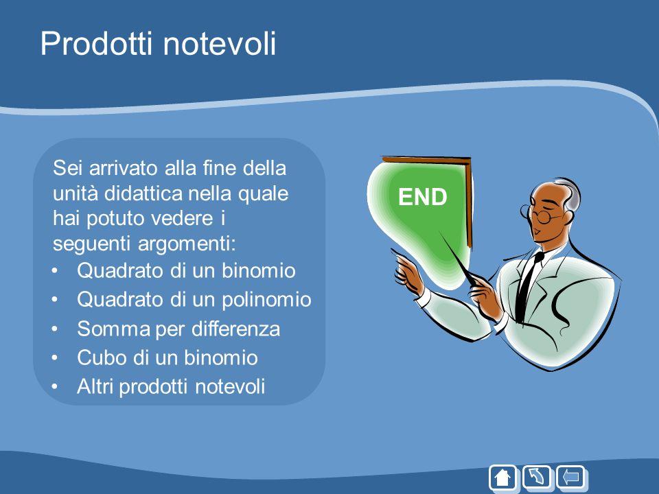 Prodotti notevoliSei arrivato alla fine della unità didattica nella quale hai potuto vedere i seguenti argomenti: