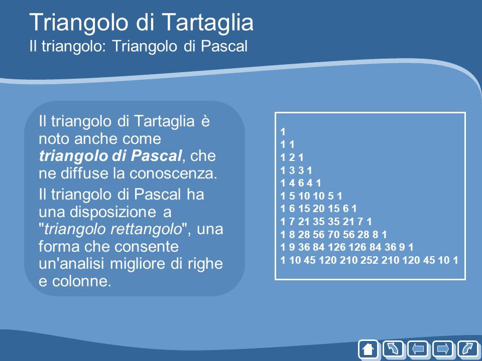Triangolo di Tartaglia Il triangolo: Triangolo di Pascal