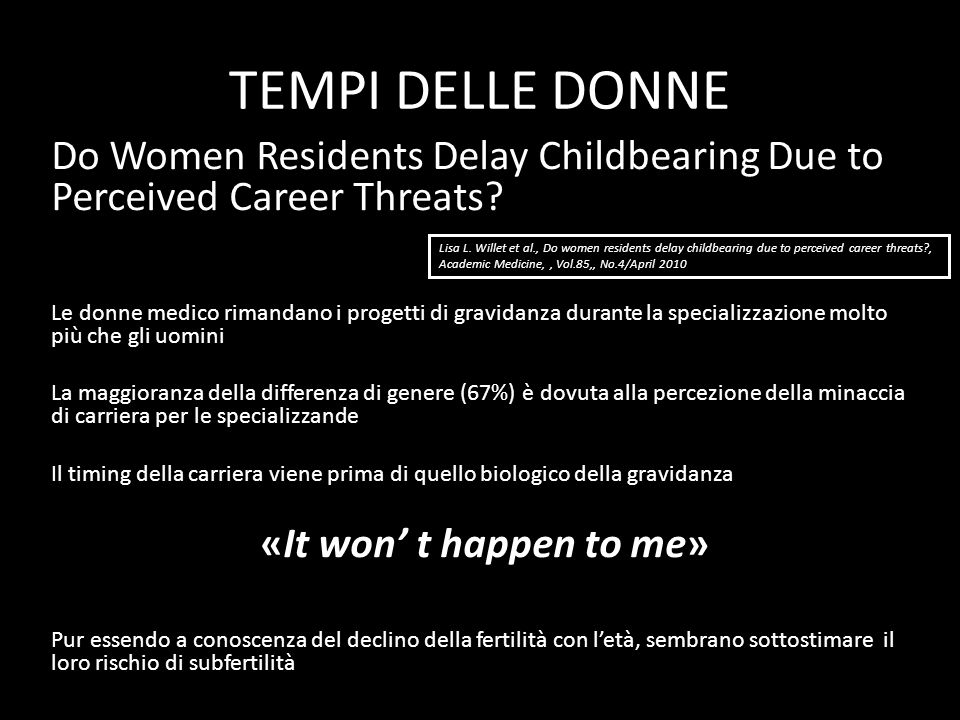 TEMPI DELLE DONNE Do Women Residents Delay Childbearing Due to Perceived Career Threats