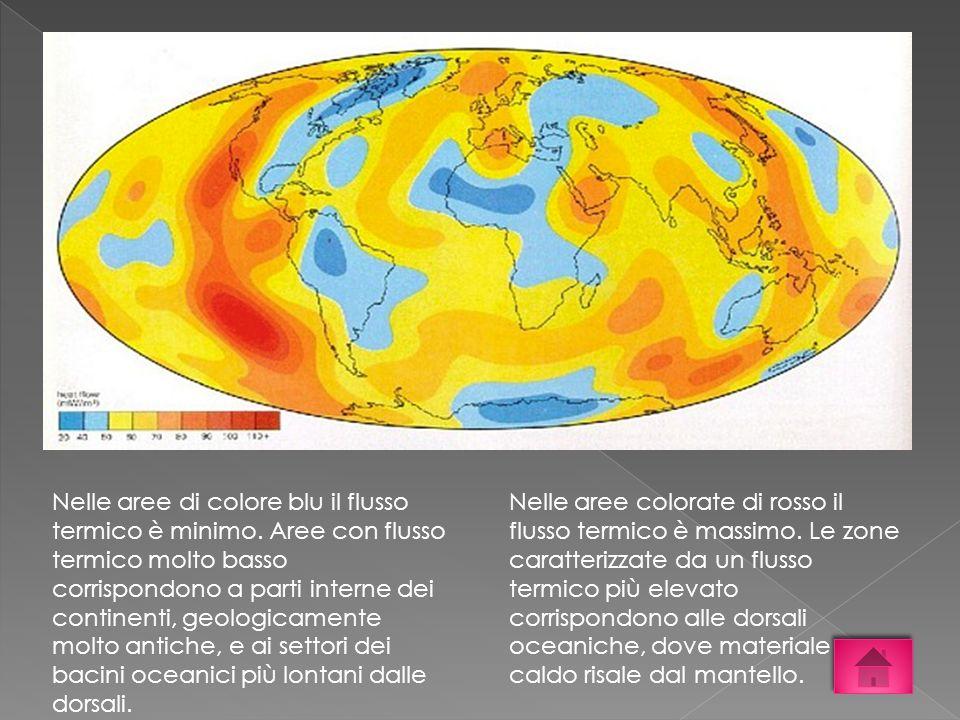 Nelle aree di colore blu il flusso termico è minimo