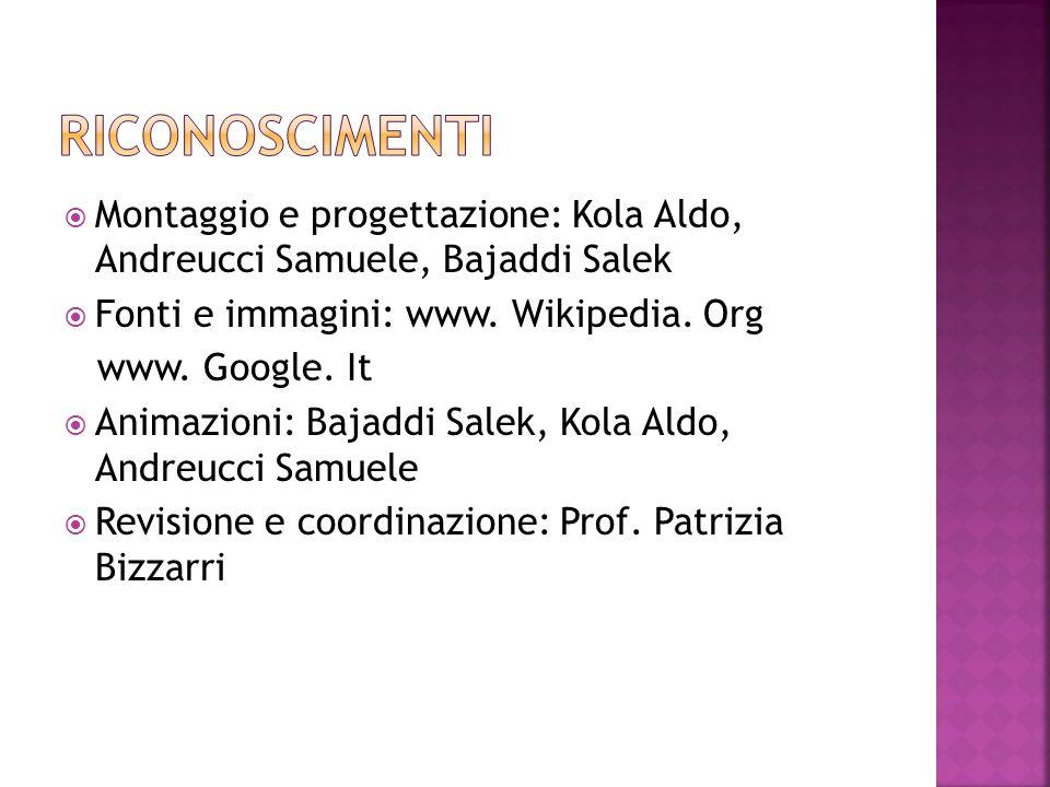 RICONOSCIMENTIMontaggio e progettazione: Kola Aldo, Andreucci Samuele, Bajaddi Salek. Fonti e immagini: www. Wikipedia. Org.