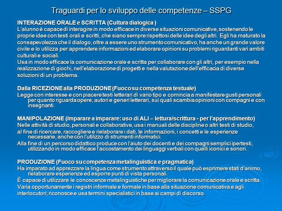 Traguardi per lo sviluppo delle competenze – SSPG