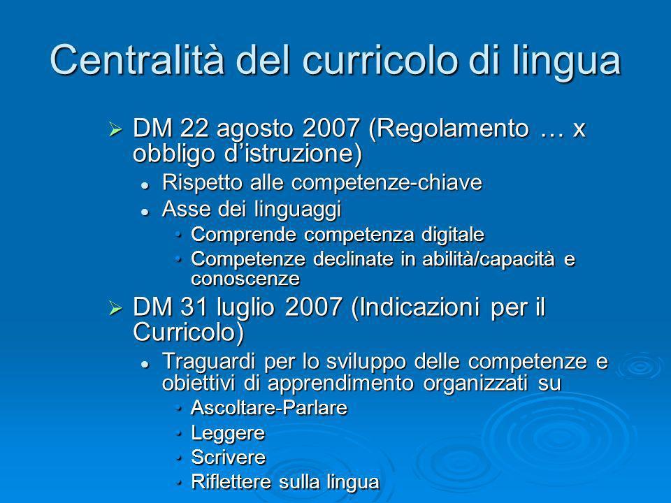 Centralità del curricolo di lingua