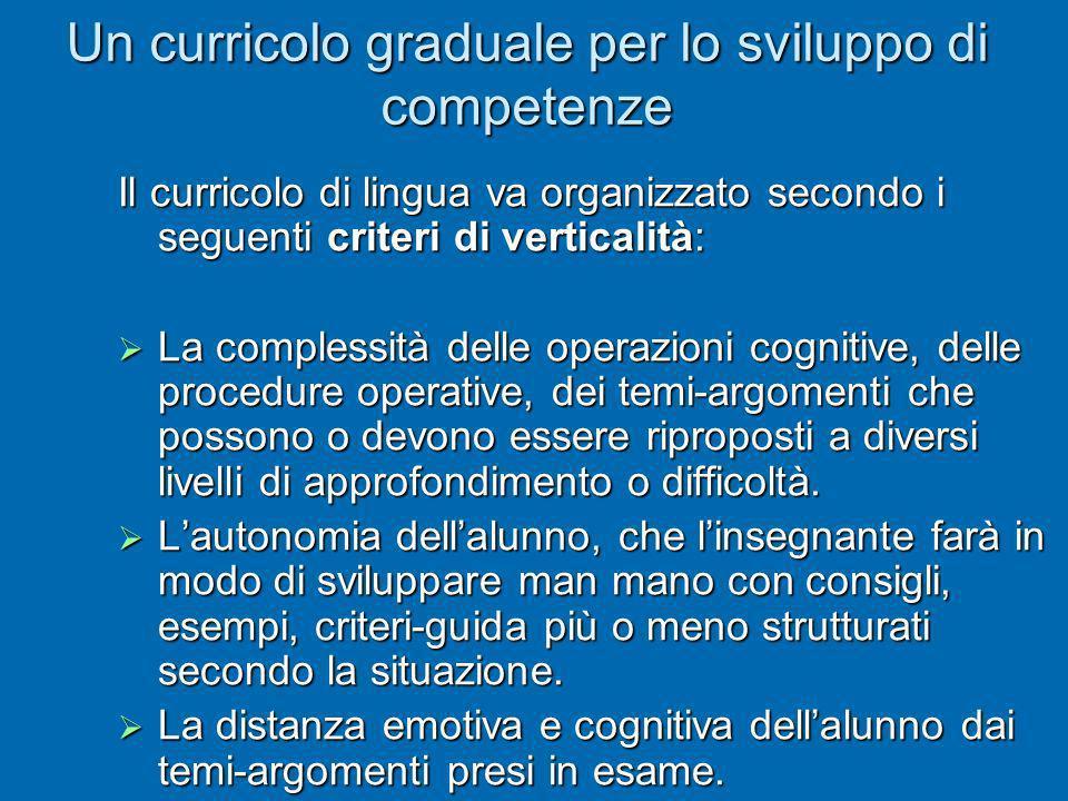 Un curricolo graduale per lo sviluppo di competenze