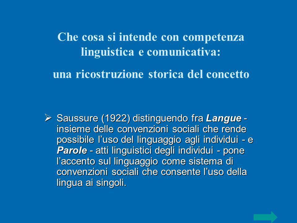 Che cosa si intende con competenza linguistica e comunicativa: