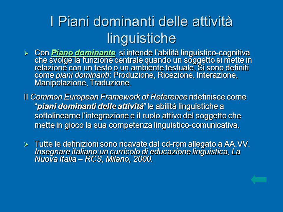 I Piani dominanti delle attività linguistiche