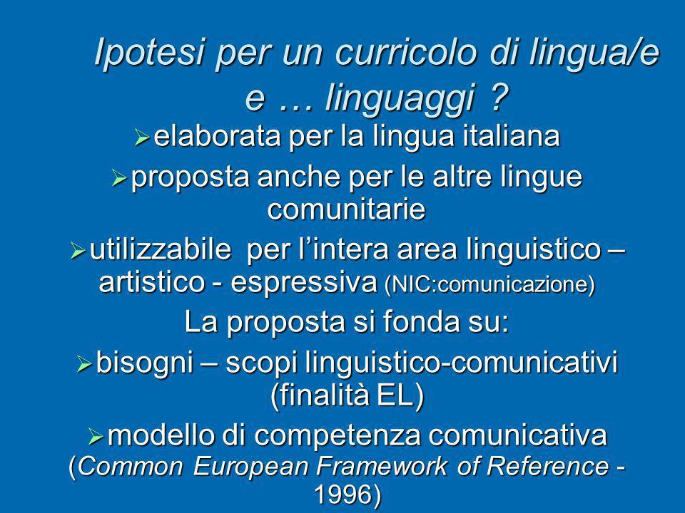 Ipotesi per un curricolo di lingua/e e … linguaggi