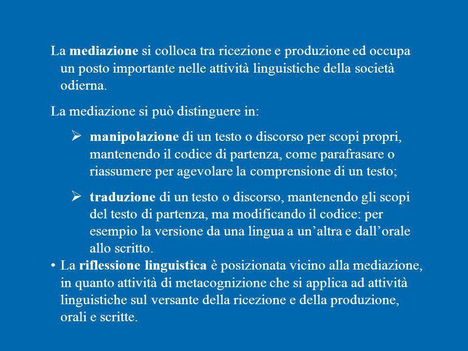 La mediazione si colloca tra ricezione e produzione ed occupa un posto importante nelle attività linguistiche della società odierna.