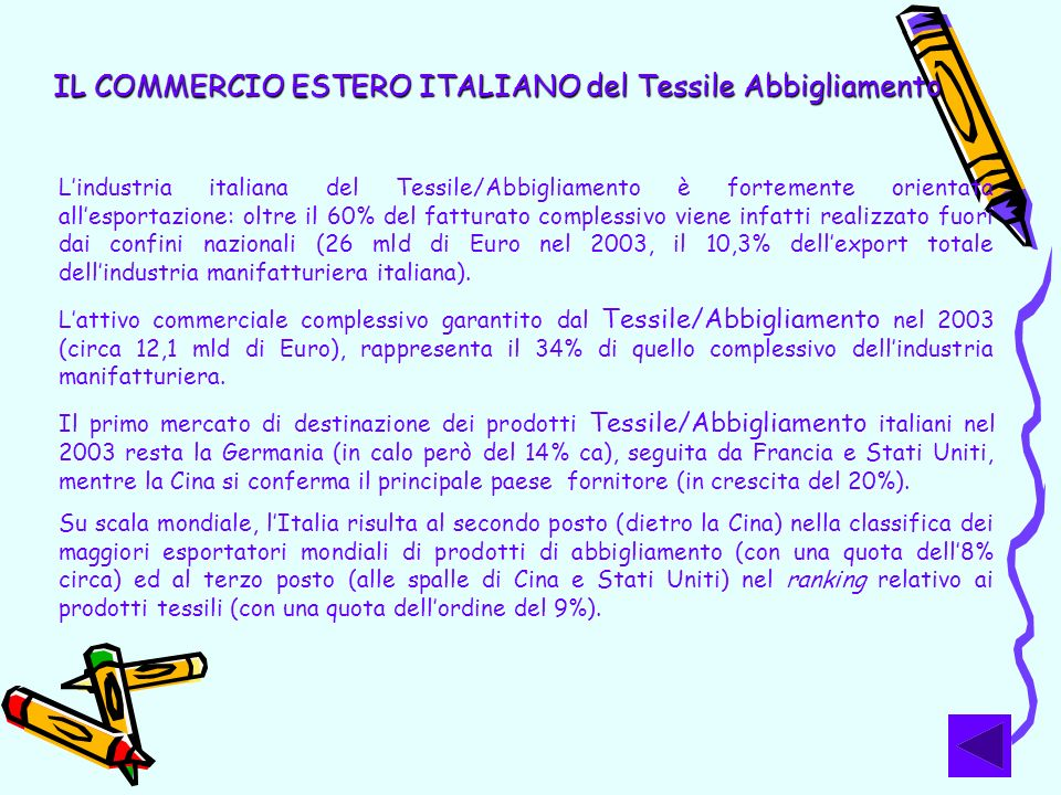 IL COMMERCIO ESTERO ITALIANO del Tessile Abbigliamento