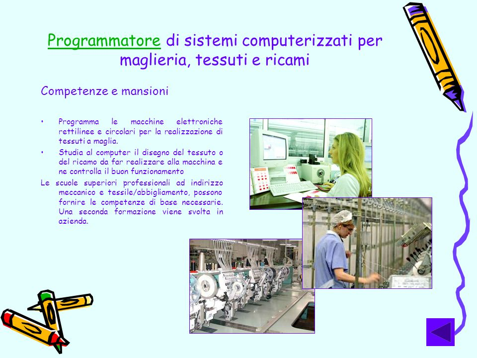 Programmatore di sistemi computerizzati per maglieria, tessuti e ricami