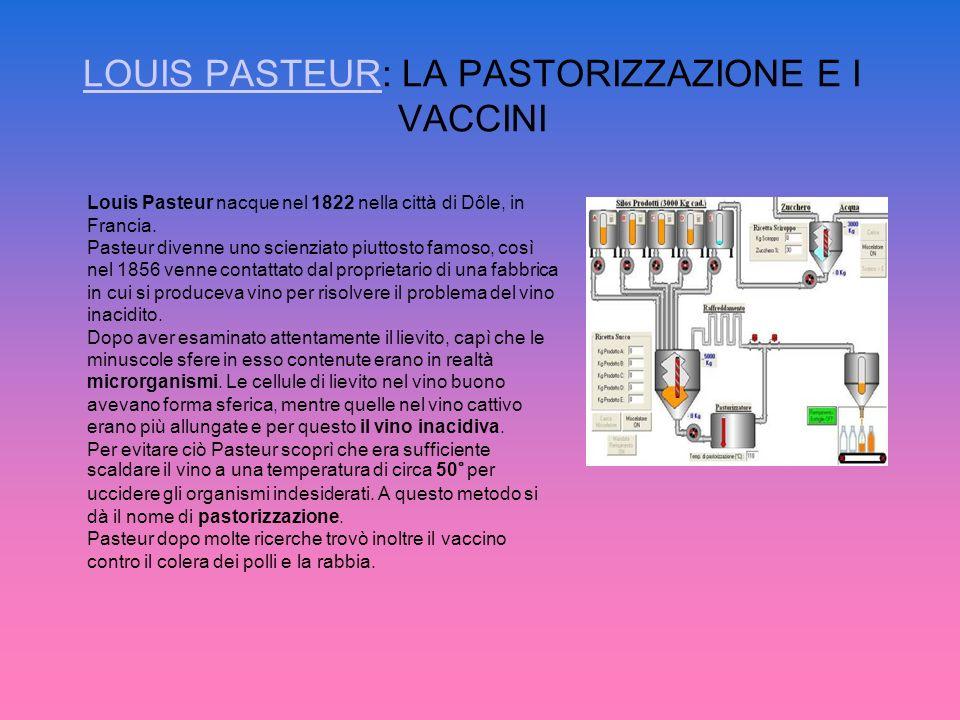 LOUIS PASTEUR: LA PASTORIZZAZIONE E I VACCINI