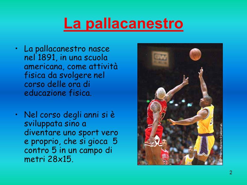 La pallacanestro La pallacanestro nasce nel 1891, in una scuola americana, come attività fisica da svolgere nel corso delle ora di educazione fisica.