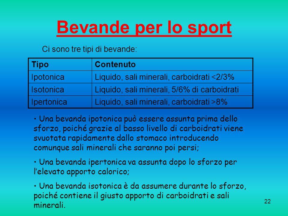 Bevande per lo sport Ci sono tre tipi di bevande: Tipo Contenuto
