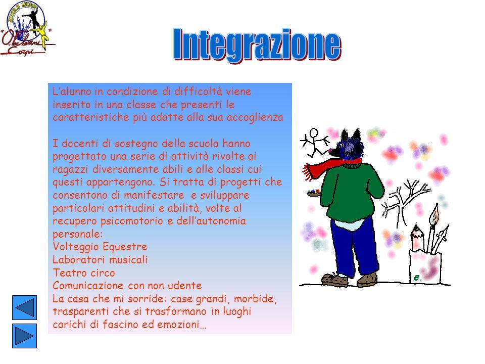 IntegrazioneL'alunno in condizione di difficoltà viene inserito in una classe che presenti le caratteristiche più adatte alla sua accoglienza.