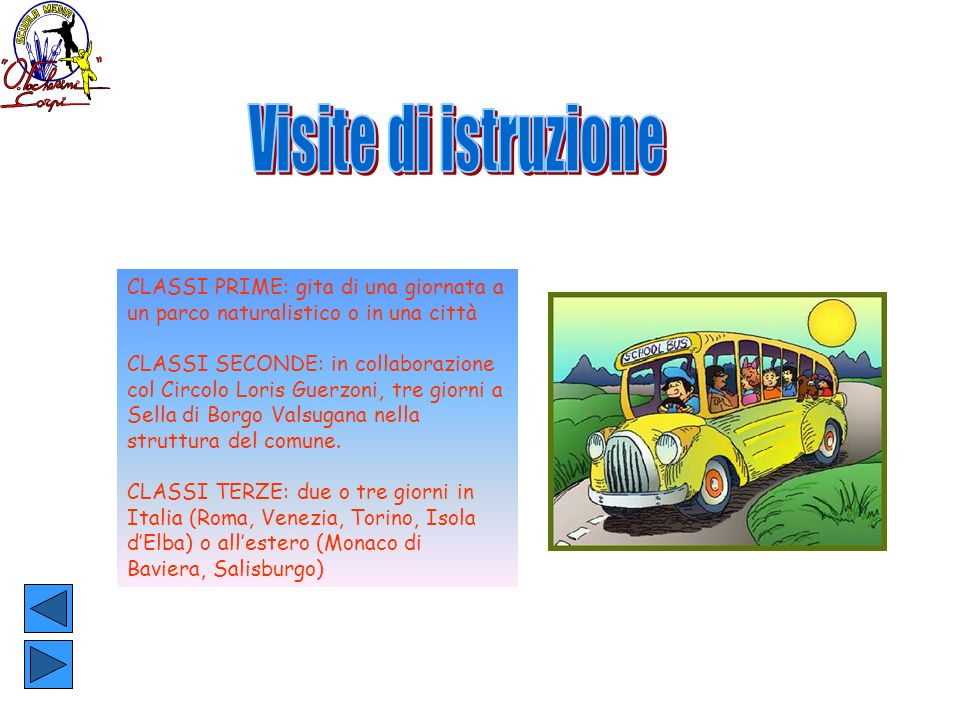 Visite di istruzione CLASSI PRIME: gita di una giornata a un parco naturalistico o in una città.