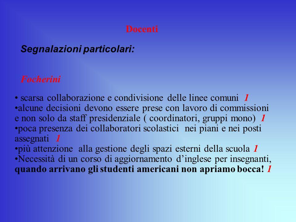 Docenti Segnalazioni particolari: Focherini. scarsa collaborazione e condivisione delle linee comuni 1.