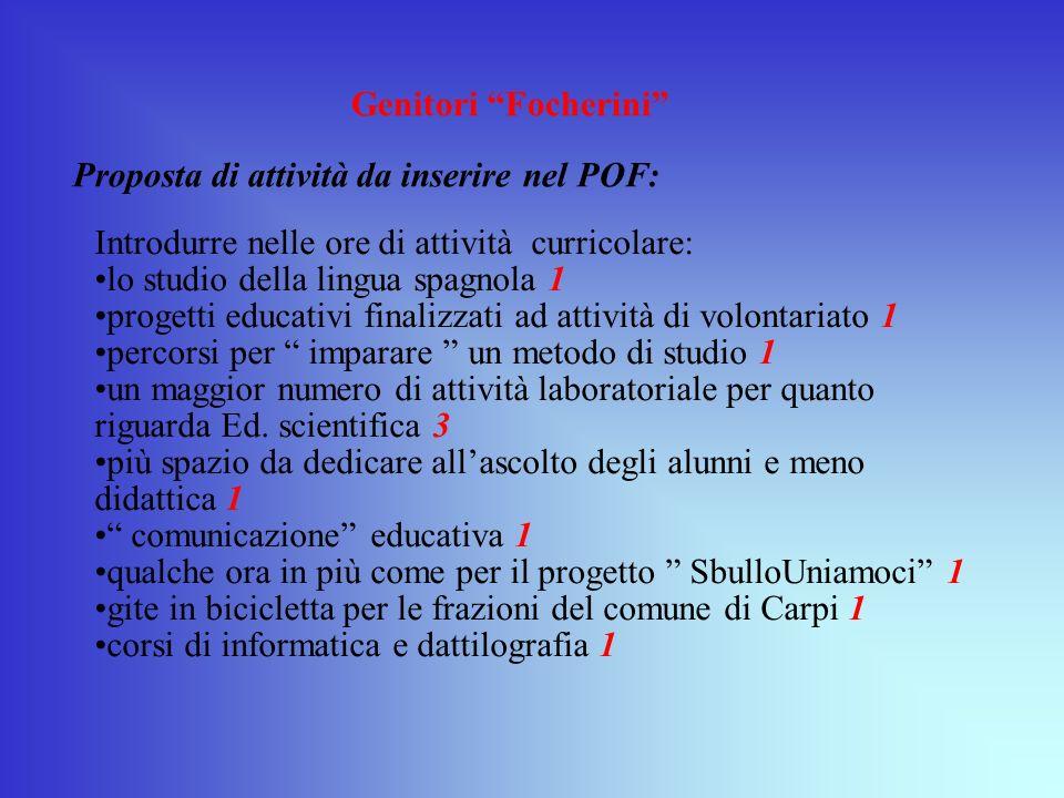 Genitori Focherini Proposta di attività da inserire nel POF: Introdurre nelle ore di attività curricolare: