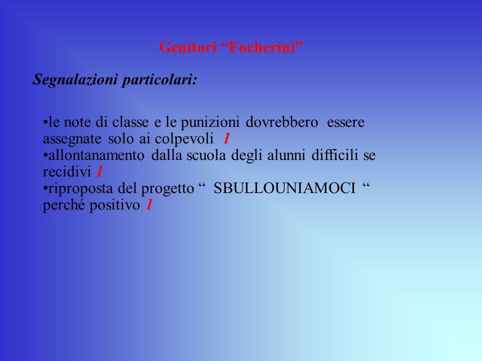Genitori Focherini Segnalazioni particolari: le note di classe e le punizioni dovrebbero essere assegnate solo ai colpevoli 1.