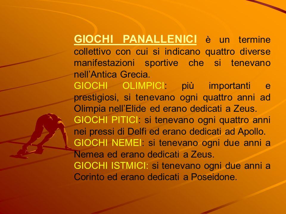 GIOCHI PANALLENICI è un termine collettivo con cui si indicano quattro diverse manifestazioni sportive che si tenevano nell'Antica Grecia.