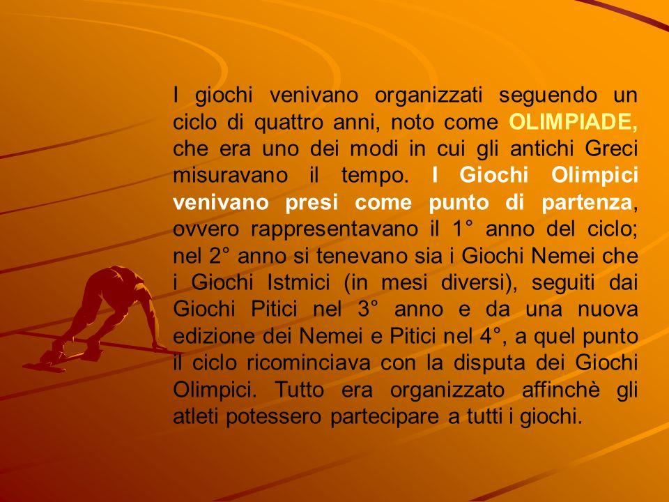 I giochi venivano organizzati seguendo un ciclo di quattro anni, noto come OLIMPIADE, che era uno dei modi in cui gli antichi Greci misuravano il tempo.