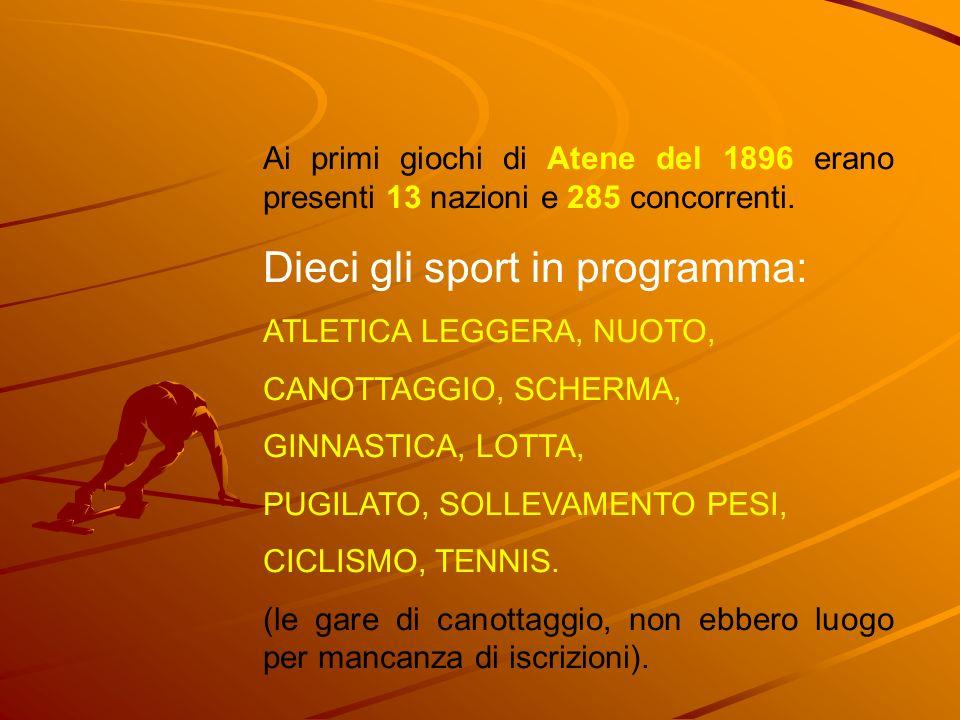 Dieci gli sport in programma: