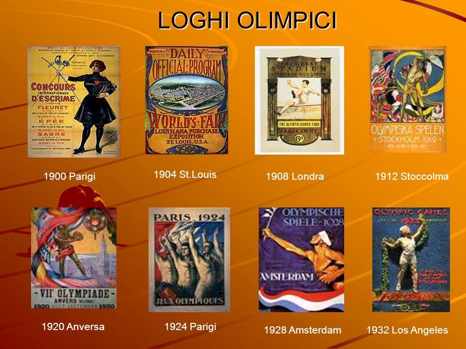 LOGHI OLIMPICI 1900 Parigi 1904 St.Louis 1908 Londra 1912 Stoccolma