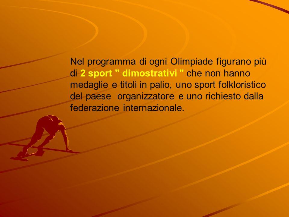 Nel programma di ogni Olimpiade figurano più di 2 sport dimostrativi che non hanno medaglie e titoli in palio, uno sport folkloristico del paese organizzatore e uno richiesto dalla federazione internazionale.
