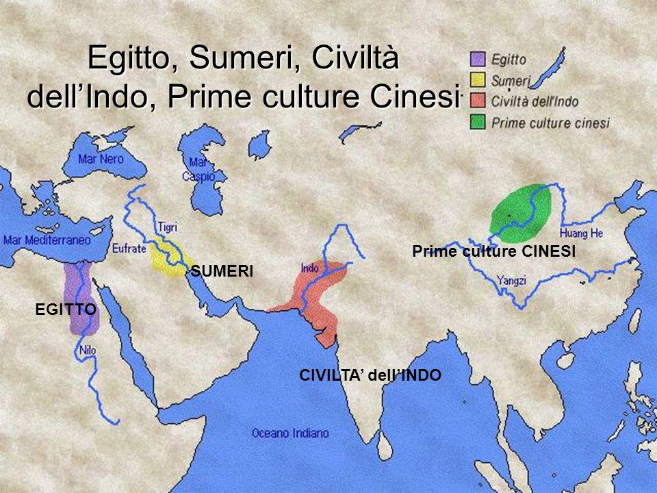Egitto, Sumeri, Civiltà dell'Indo, Prime culture Cinesi