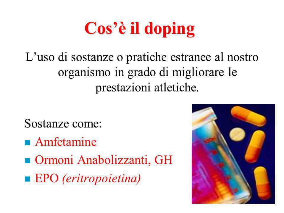 Cos'è il doping L'uso di sostanze o pratiche estranee al nostro organismo in grado di migliorare le prestazioni atletiche.