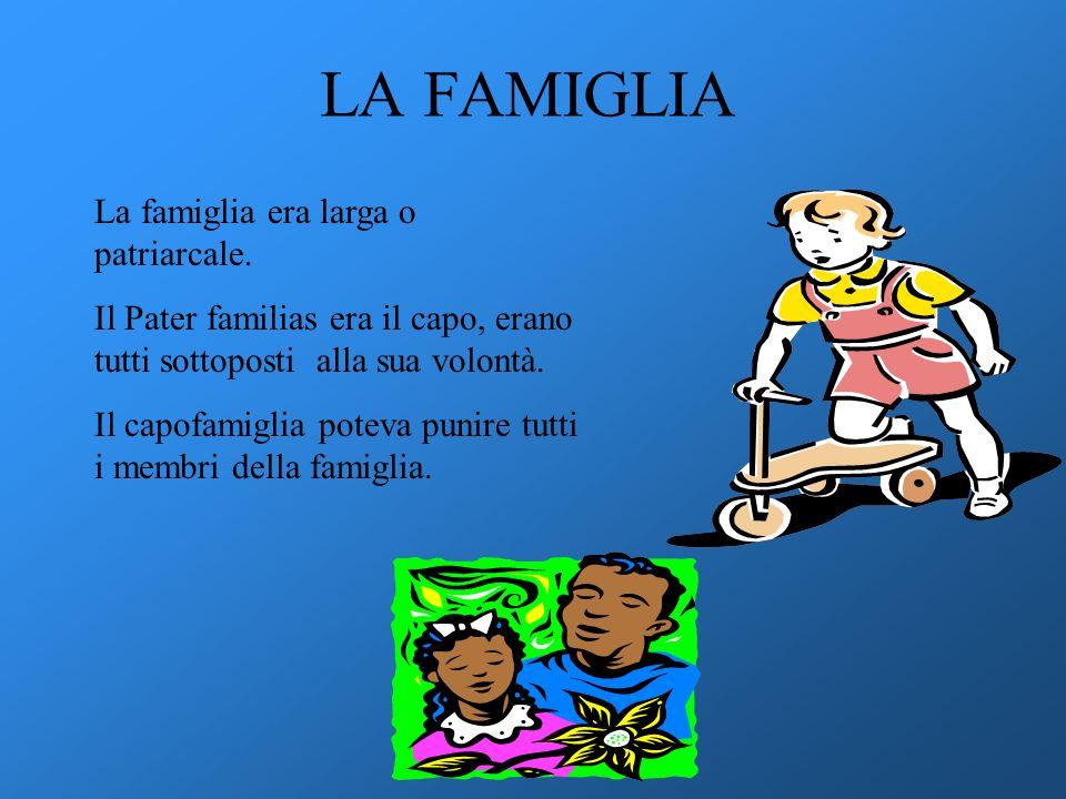 LA FAMIGLIA La famiglia era larga o patriarcale.