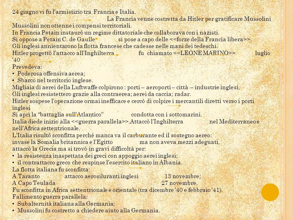 24 giugno vi fu l'armistizio tra Francia e Italia.