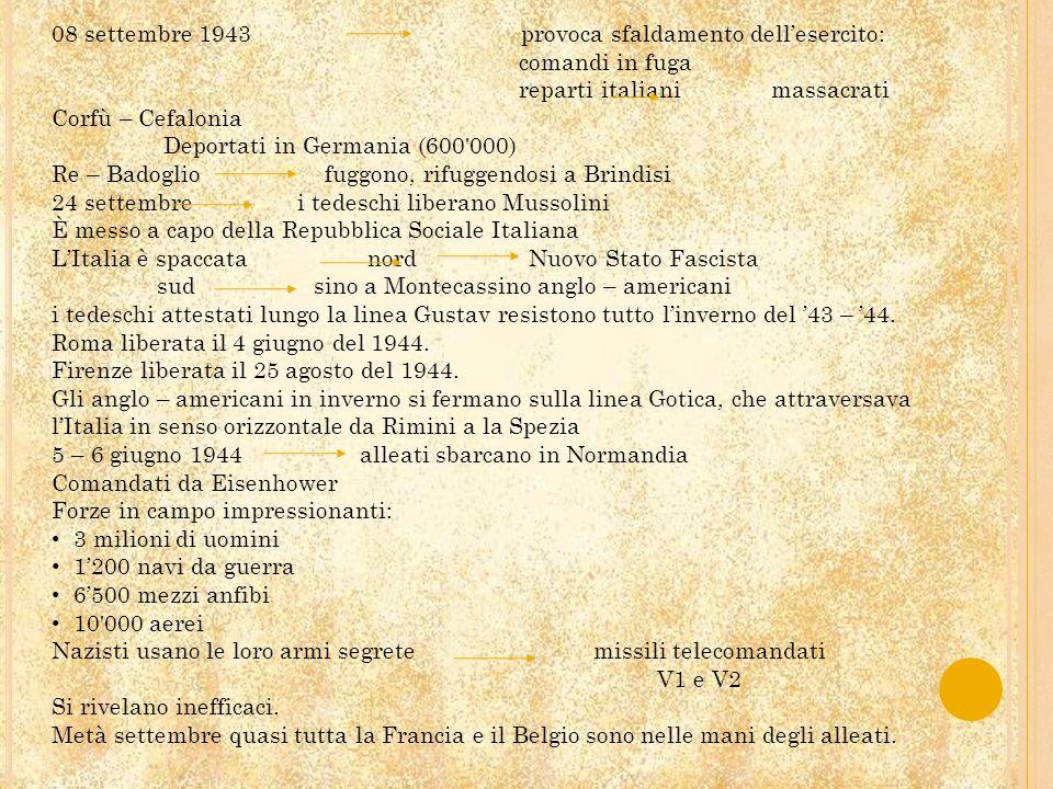 08 settembre 1943 provoca sfaldamento dell'esercito: